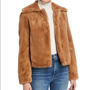🎉HP🎉NWT-Theory Faux Fur Portrait Neck Jacket